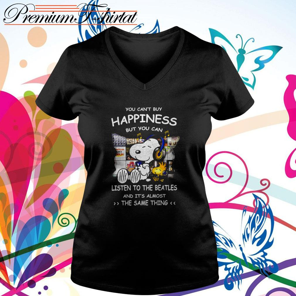 Snoopy you can't buy happiness but you can listen to The Beatles V-neck T-shirt