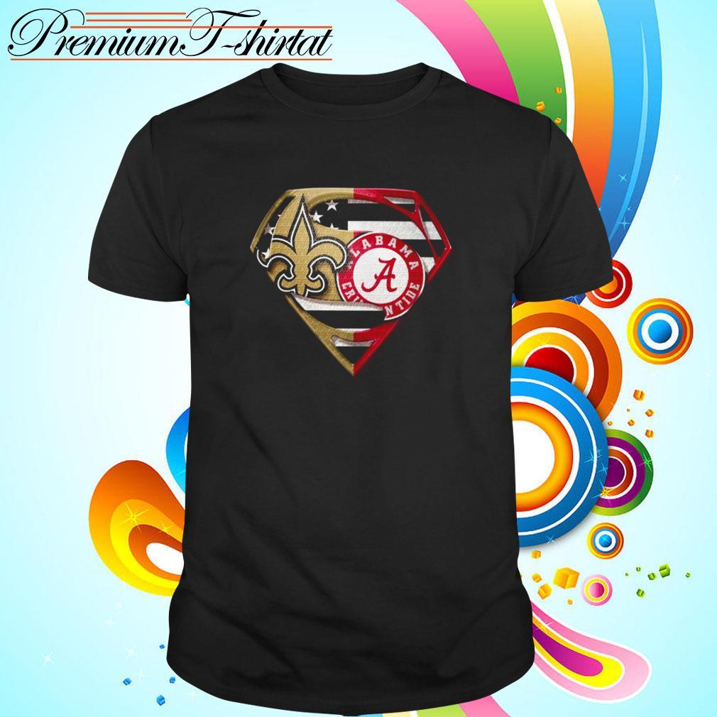 Superman New Orleans Saints and Alabama Crimson Tide shirt