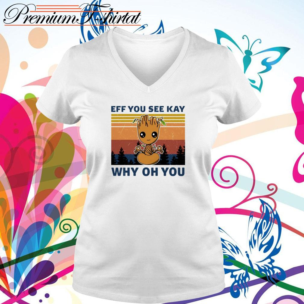 Vintage Yoga Baby Groot eff you see kay why oh you V-neck T-shirt