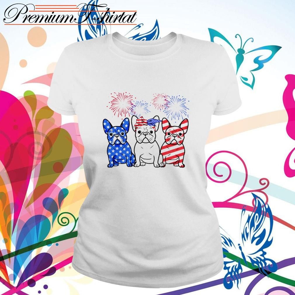 Firework Bulldogs red white blue 4th of July independence day Ladies Tee