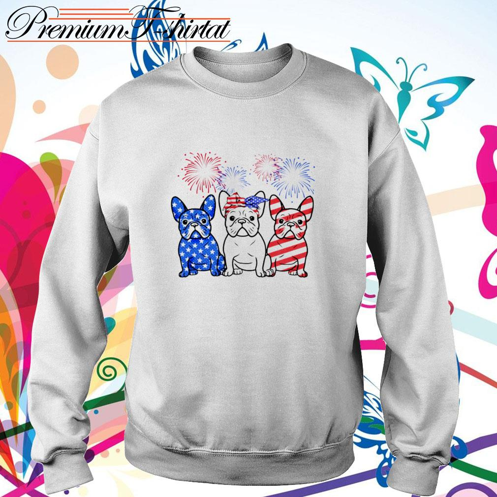 Firework Bulldogs red white blue 4th of July independence day Sweater