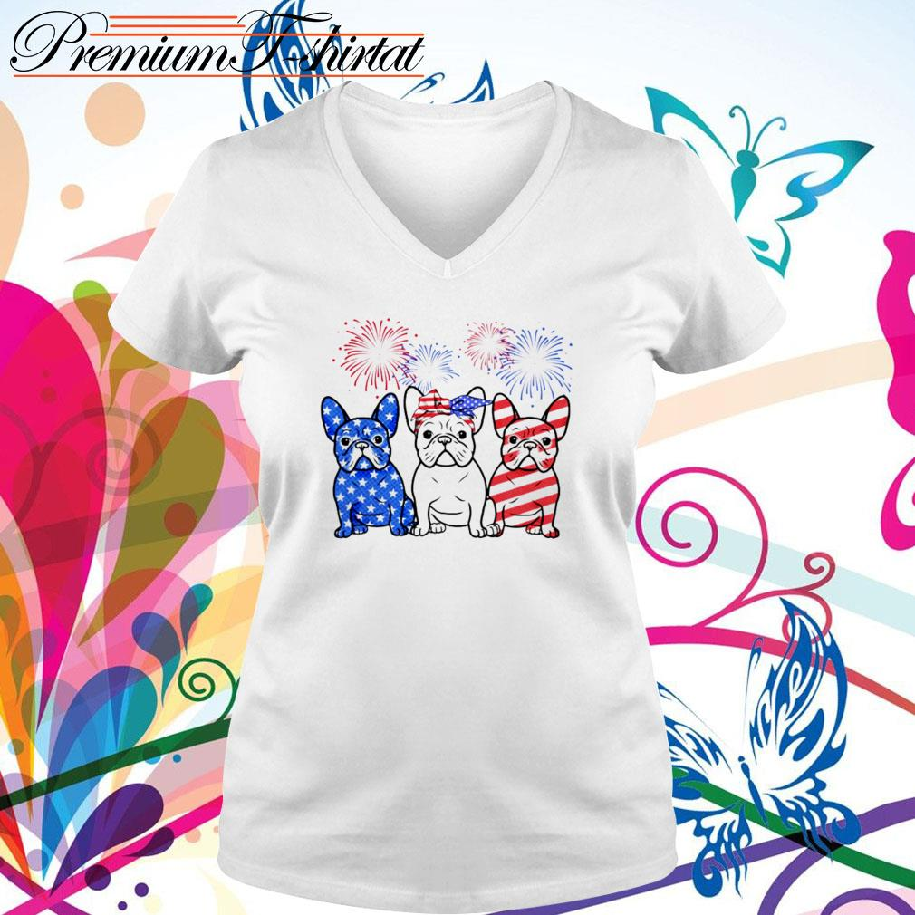 Firework Bulldogs red white blue 4th of July independence day V-neck T-shirt