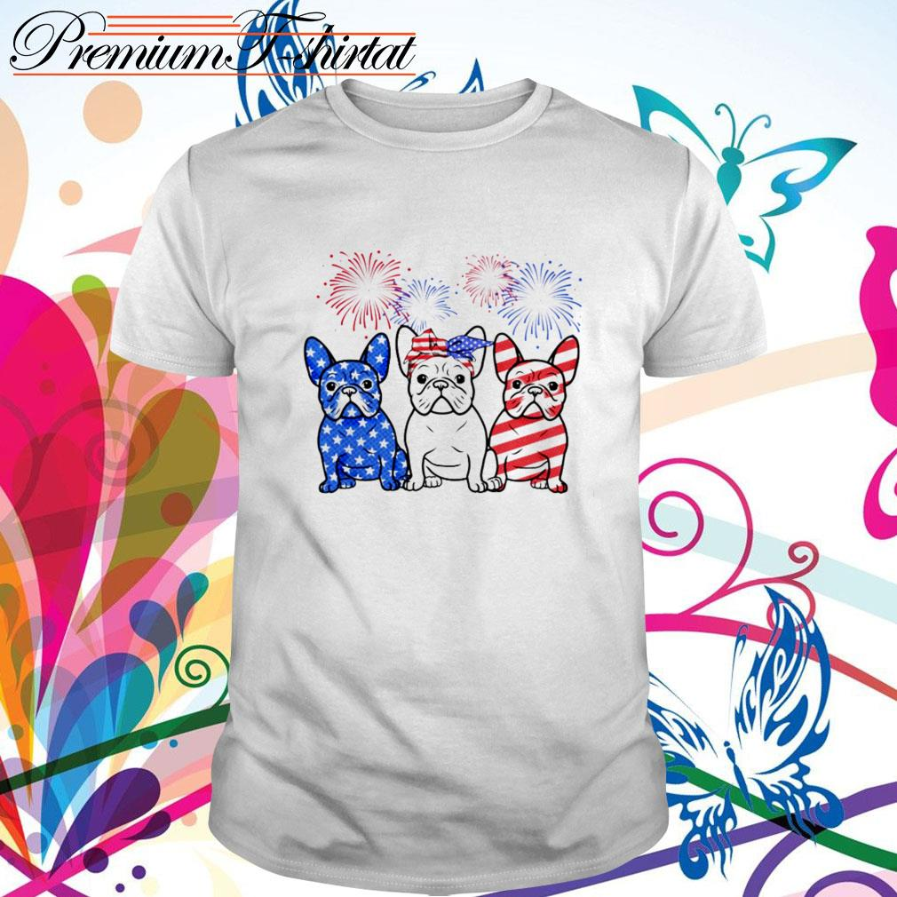 Firework Bulldogs red white blue 4th of July independence day shirt