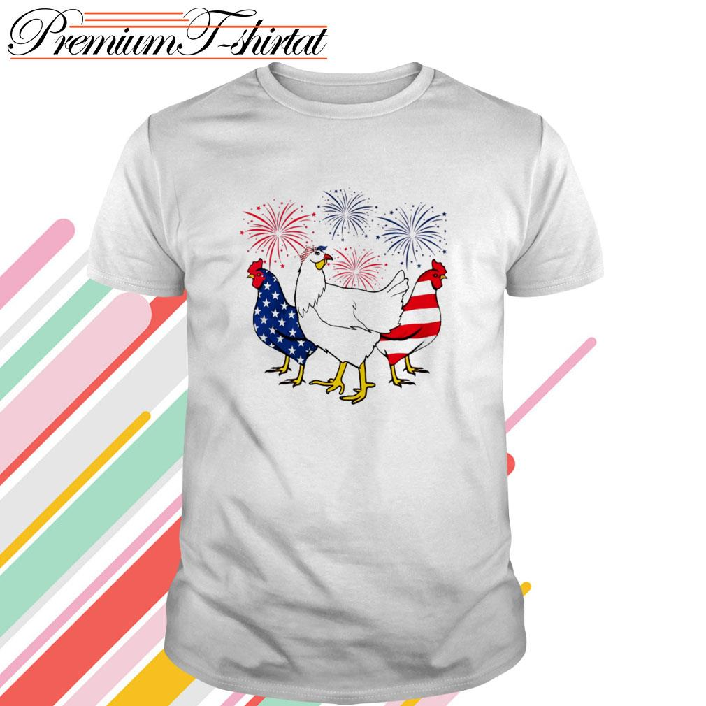 Firework Chickens red white blue 4th of July independence day shirt