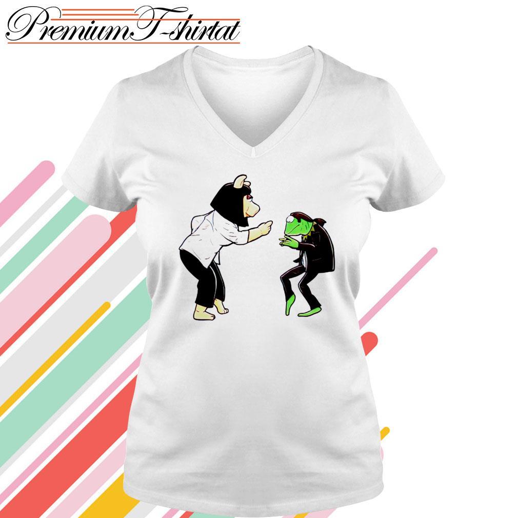 Frog Kermit and Miss Piggy Fiction Dance V-neck T-shirt