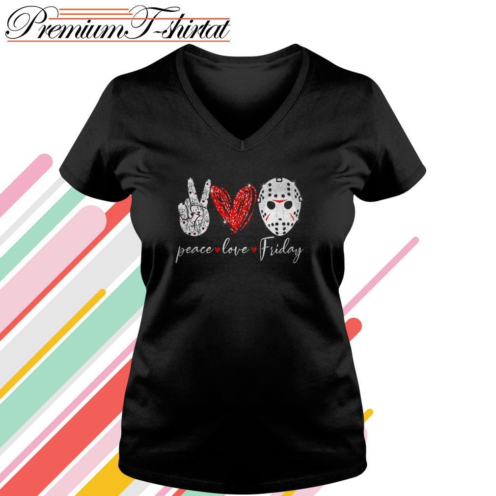 Jason Voorhees Peace love Friday V-neck T-shirt