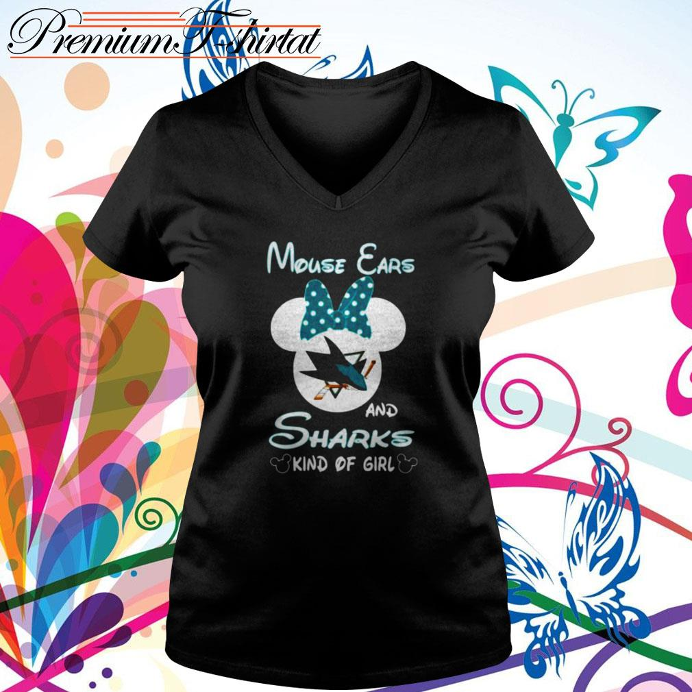 Mouse ears and sharks kind of girl V-neck T-shirt