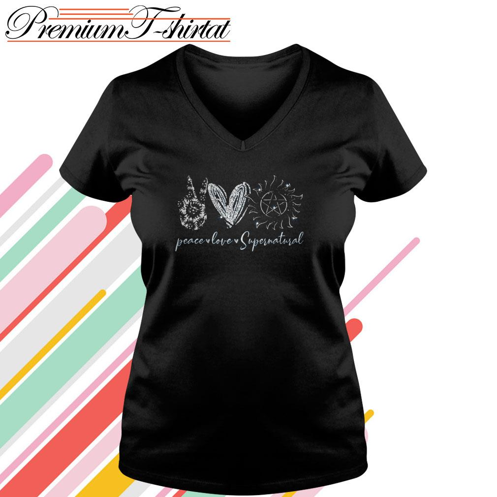 Peace love Supernatural V-neck T-shirt